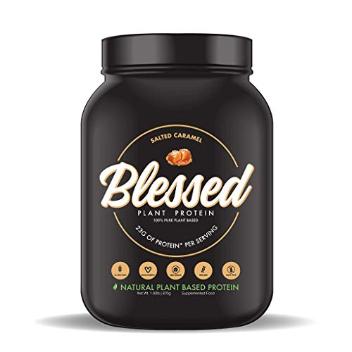 BLESSED Plant Based Protein Powder – 23 Grams, All Natural Vegan Protein, 2 Pounds, 30 Servings (Salted Caramel)