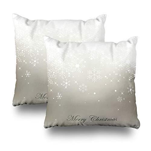 GFGKKGJFD Juego de 2 fundas de cojín de Navidad con diseño de copo de nieve, color gris, blanco, 18 x 18 cm, para sofá, adolescentes, niñas, regalos