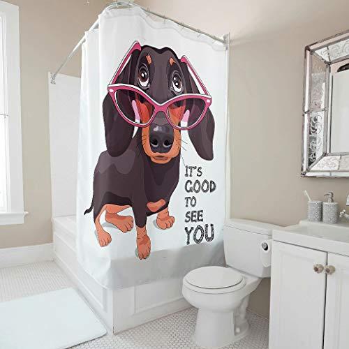 RQPPY Dog Duschvorhang Anti-Schimmel 3D Digitaldruck Badezimmer Dusche Vorhang White 91x180cm