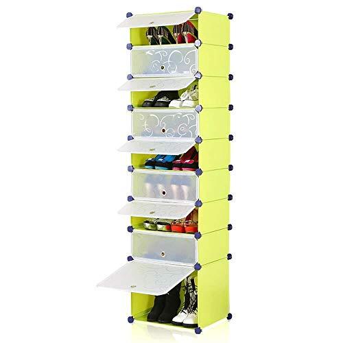 Dongy schoenenrek met 9 verdikte rechthoekige ladekast-organizer, ruimtebesparend schoenenrek