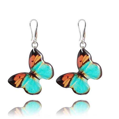 Bonitos Pendientes Colgantes Mariposa Turquesa y Naranja ; Regalo Gracioso de Fiesta para Mujer; Dragon Porter Dimensión 3.5cm