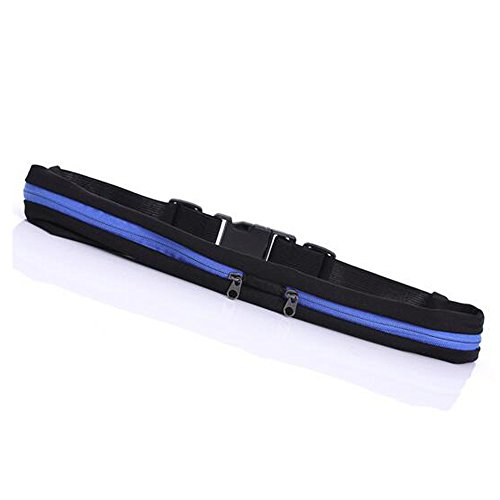 ShiChengWei Running Belt Waist Pack Fanny Pack Waterproof Sweat Expandable Resistant dual pocket Best Fitness Pouch for iphone 6,7 Plus, Keys,Cards Wallet for Workout Sports (Blue)