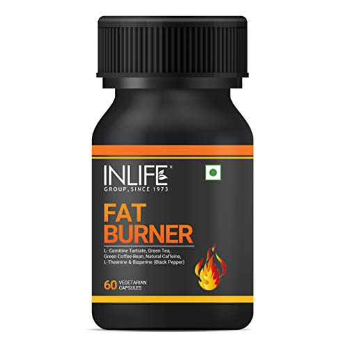 INLIFE Fat Burner with L-Carnitine, Green Tea, Green Coffee Bean, Natural Caffeine, L-Theanine, Bioperine Piperine Extract Weight Keto Supplement for Women Men - 60 Vegetarian Capsules (Pack of 1)