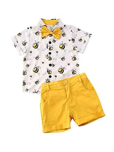 Geagodelia 2tlg Babykleidung Set Baby Jungen Kurzarm Hemd T-Shirt + Shorts 1-6 Jahre Kleinkinder Taufe Anzug Sommer Top Bekleidung Set Festlich Hochzeit Outfits (Biene weiß, 2-3 Jahre)