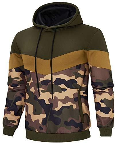 Rave on Friday Herren Pullover Patchwork Fleece Hoodie Sweatjacke Longsleeve Khaki Camouflage Sweatshirt Langarm Kapuzenpullover Top Casual Hoody mit Kanga Pocket M