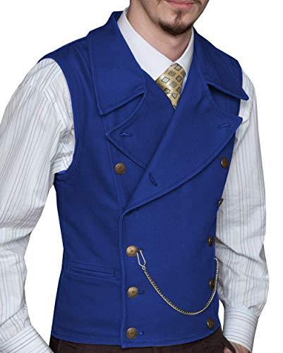 Solove-Suit Herren Lässig Zweireiher Anzug Weste Wildleder Revers Slim Fit Weste für Hochzeit Groomsmen(Königsblau,L