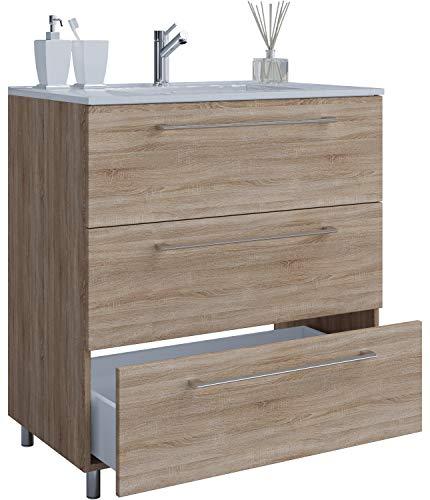 VCM 2-TLG. Stand-Waschplatz Set Badmöbel Waschbecken Keramik Waschtisch 3 Schubladen 80 cm, Sonoma-Eiche