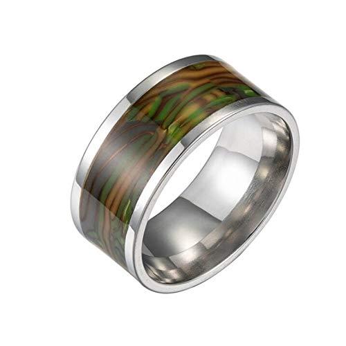 U/K Vintage Muschelring Herren einfacher breiter Abalone Muschelring übertriebener Herrenschmuck EIN einzigartiger Ring kann Ihnen viel Glück bringen (Color : 2, Size : 7#)