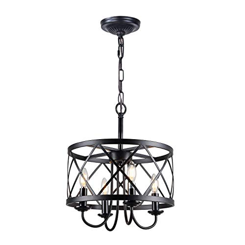 Infront Chandelier, 4-Light Farmhouse Chandelier, Drum Lantern Modern Chandelier, Black Finish Rustic Chanderliers
