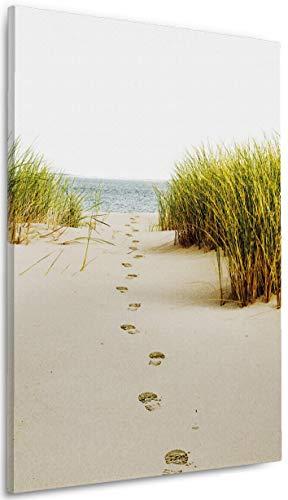 Wallario Leinwandbild Spuren im Sand- Fußspuren durch die Düne zum Meer - 60 x 90 cm: Brillante lichtechte Farben, hochauflösend, verzugsfrei