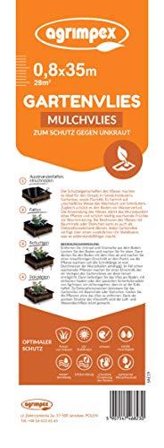 agrimpex Unkrautvlies Gartenvlies gegen Unkraut – Unkrautfolie Wasserdurchlässig – Reißfestes Unkrautflies UV-Stabilisierung (1 Rolle) 0,8m x 35m (28m²)