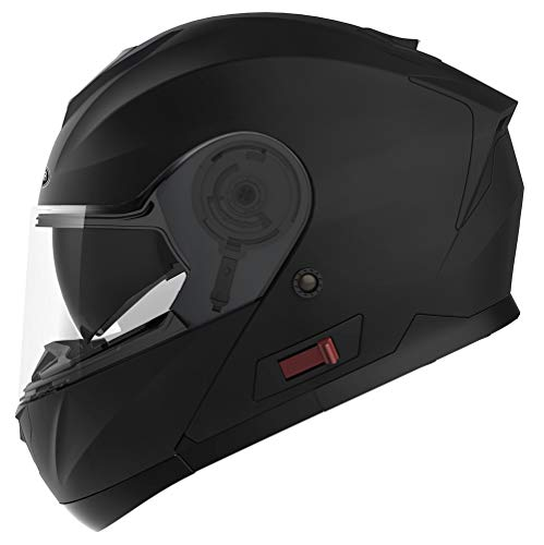 Motorcycle Modular Full Face Helmet DOT Approved - YEMA YM-926 Motorbike Moped Street Bike Racing Flip-up Helmet with Sun Visor Bluetooth Space for Adult,Youth Men and Women - Matte Black,M