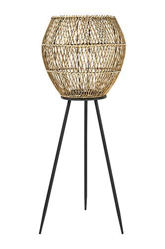 Bloomingville handgeflochtene Laterne aus Bambus und Rattan mit Glaseinsatz und Dreibein aus Metall mit Metallbeinen, Braun