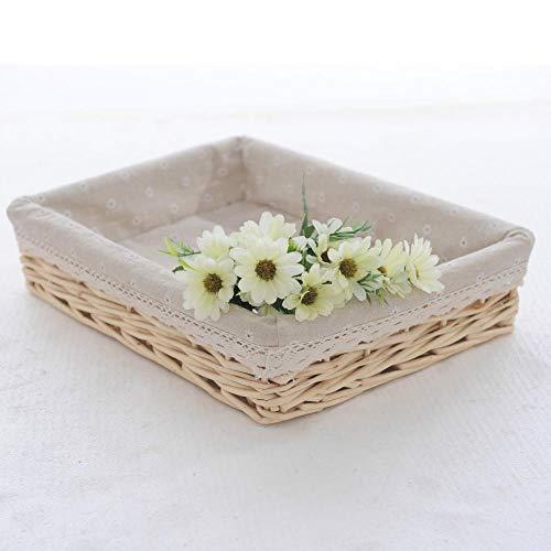 Basket with lid,Wicker Basket Household Sundries Storage Basket-True Color_Snowflake Lining