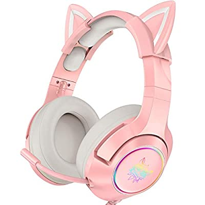 ONIKUMA Pink Gaming Headset with Removable Cat Ears, for PS4, Xbox One (Adapter Not Included), Nintendo Switch, PC, with Surround Sound, RGB LED Light & Noise Cancelling Retractable Microphone by ONIKUMA
