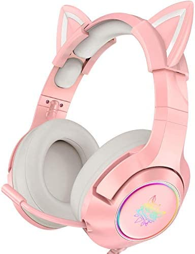 ONIKUMA Pink Gaming Headset with Removable Cat Ears for PS5 PS4 Xbox One Adapter Not Included product image