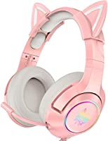 ONIKUMA Pink Gaming Headset with Removable Cat Ears, for PS4, Xbox One (Adapter Not Included), Nintendo Switch, PC,...