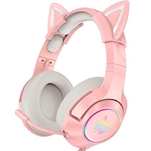 Pinkes Gaming-Headset mit abnehmbaren Katzenohren, geeignet für PS5, PS4, Xbox One (ohne Adapter), Nintendo Switch, PC, Surround-Sound, RGB-LED-Licht und Teleskopmikrofon mit Geräuschunterdrückung