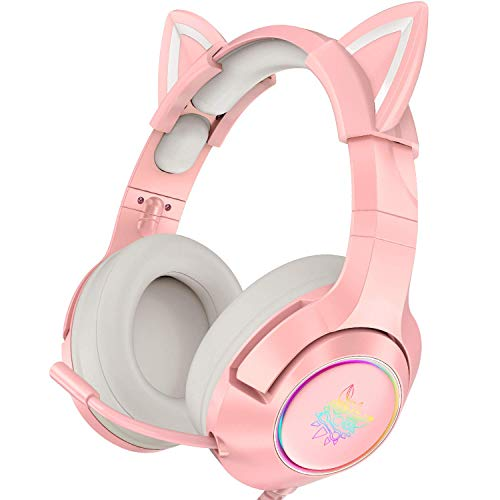 ONIKUMA Pink Gaming Headset with Removable Cat Ears, for PS4, Xbox One (Adapter Not Included), Nintendo Switch, PC, with Surround Sound, RGB LED Light & Noise Canceling Retractable Microphone