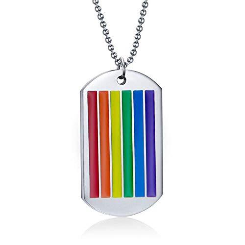 Halskette Herren Regenbogen Hundemarke Anhänger Halskette Für Frau Edelstahl Halsreif Homosexuell Und Lesben Stolz Schmuck