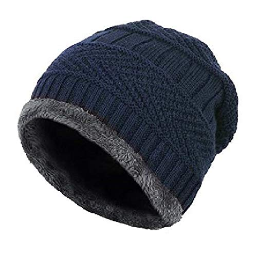 Gajraj Woolen Cap, Knitted Skull Cap for Men & Women (Navy)