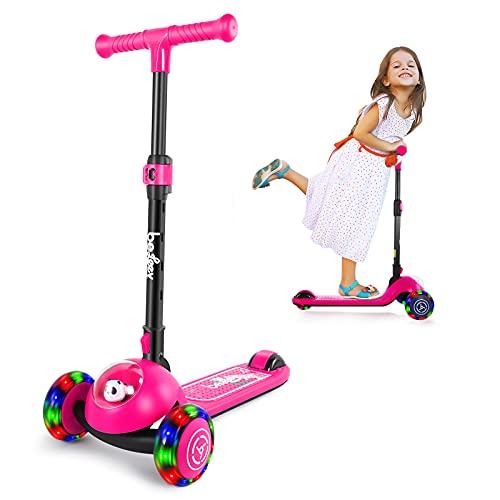 BELEEV Patinete infantil de 3 ruedas para niñas y niños, plegable con ruedas de luz LED, para niños pequeños a partir de 3 – 8 años (rosa)