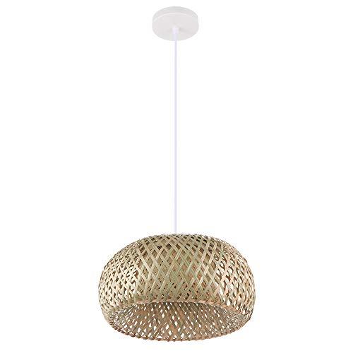 LMTXXS Lámpara de techo de bambú con lámpara de araña de techo retro para jardín, restaurante, cafetería, bar, salón, lámpara de ratán