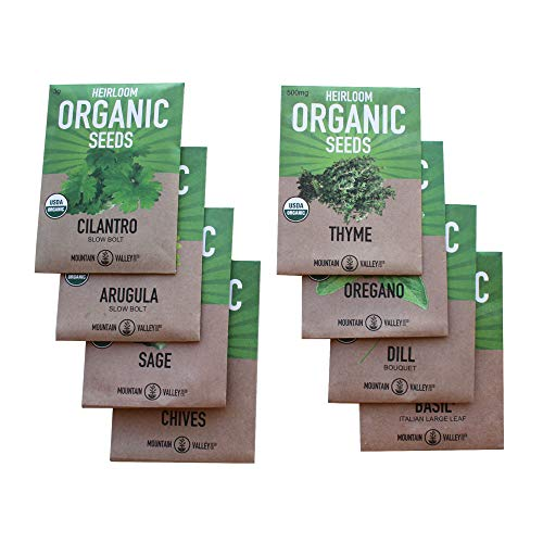 8 Herb Seeds Variety Pack of Non-GMO Organic Garden Plant Seeds – Assortment of Heirloom Herb Seeds and Hydroponic Seeds featuring Arugula, Basil, Chives, Cilantro, Dill, Oregano, Sage, and Thyme