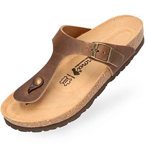 BOnova Teen-spreider voor dames, van hoogwaardig echt leer, stijlvol pantolette met kurk-voetbed, sandalen om je goed te voelen, gemaakt in de EU bruin 43