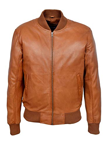 Boots and Leather Hommes Manchette élastique et Collier Retro Style Bombardier Tan en Cuir d'agneau Manteaux de 70 (UK 3XL / EU 58)