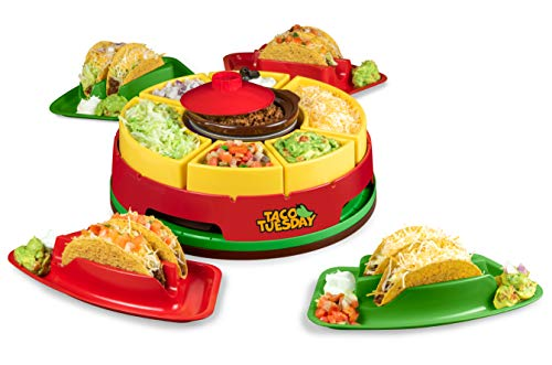 Nostalgia Taco Tuesday Heated Lazy Susan Topping Bar Perfect for Burritos, Nachos, Fajitas, 20-Oz. Warming Pot, Includes 4 Tortilla Holders, Red