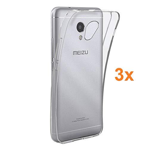 REY Pack 3X Cover in Gel TPU Trasparente per MEIZU M5S / MEILAN M5S, Ultra Sottile 0,33 mm, Morbido Flessibile, Custodia Silicone