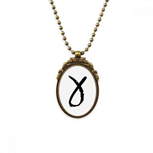 DIYthinker Griekse Alfabet Gamma zwart Silhouette antieke messing ketting Vintage hanger sieraden luxe gift