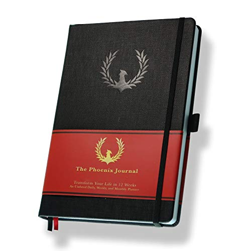 The Phoenix Journal - Best Daily Goal Planner, Organizer, & Calendar for Goal Setting, Gratitude, Happiness, & Productivity - Vision Board & Habit Tracking - 12 Weeks, Undated, Hardcover - Black