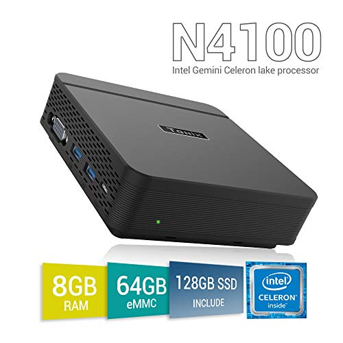 Mini PC TaNix, Windows 10 Pro, Procesador Intel Gemini Lake N4100 + 8GB LPDDR4 + SSD128GB + 64GB ROM Ordenador con 2 HDMI y VGA (Triple Pantalla), 1000Mbps LAN, 2 x USB 3.0 y BT 4.2
