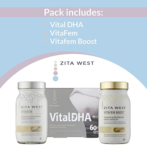 Zita West Preconception Support Pack for Women – Essential Multivitamins, Minerals, DHA, EPA, Zinc, Omega 3 and Anti-Oxidants for Fertility and Preconception