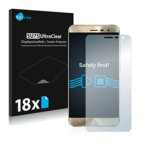 Savvies 18x Schutzfolie kompatibel mit Asus ZenFone 3 ZE552KL Bildschirmschutz-Folie Ultra-transparent