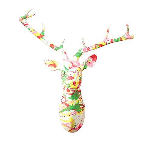 Meubletmoi Sculpture Murale tête de Cerf 40 cm Peinture laquée Multicolore - Trophée décoratif Design Contemporain Abstrait - CERF