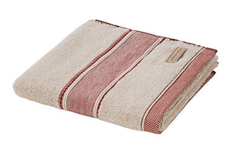 möve Spa Handtuch Uni mit breiter Bordüre 50 x 100 cm aus 80 % Baumwolle / 20 % Leinen, nature / sienna