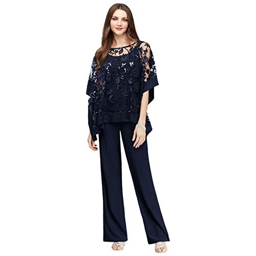 Sequin Lace Pantsuit with Sheer Poncho Style 2288, Navy, 12