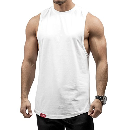 Hyperfusion All Day Cut Off Tank Top Herren Shirt Gym Fitness (XL, Weiß)
