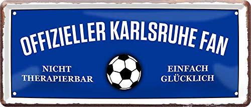 Blechschilder OFFIZIELLER Karlsruhe Fan Metallschild für Fußball Begeisterte Deko Artikel Schild Geschenkidee 28x12 cm