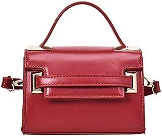 Adebie - European and American Fashion Ladies Small Handbag 2019 Elegant Simple Crossbody Hand Bag Cover Square Shoulder Bag Tote Handbag Red []