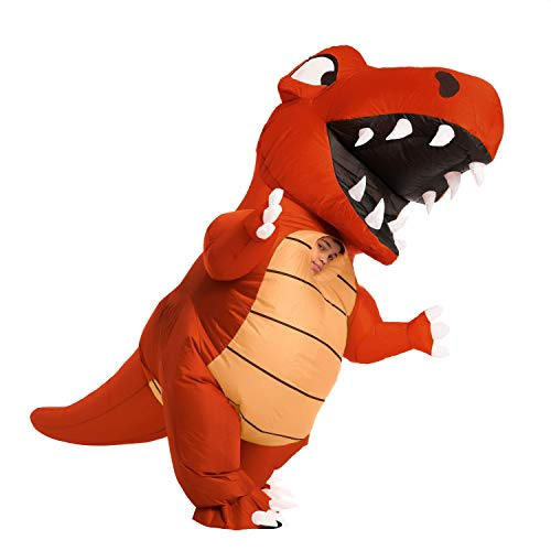 Spooktacular Creations Inflatable Halloween Costume Full Body Dinosaur Inflatable Costume - Child Unisex T-Rex Costume (Red, Child (7-10))