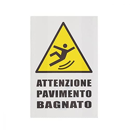 CARTELLO SEGNALETICO - Attenzione Pavimento Bagnato - Con Adesivo in Vinile e Pannello in Forex (Adesivo)