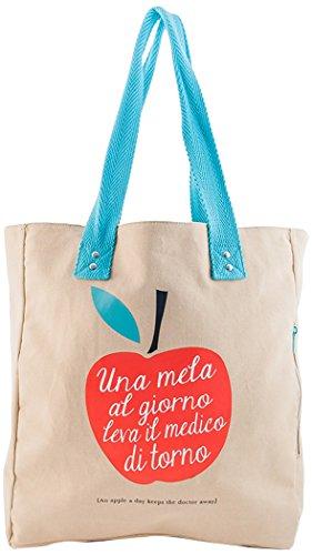 That's Italia EIN Apfel am Tag Shopper für Damen aus Canvas, Mehrfarbig