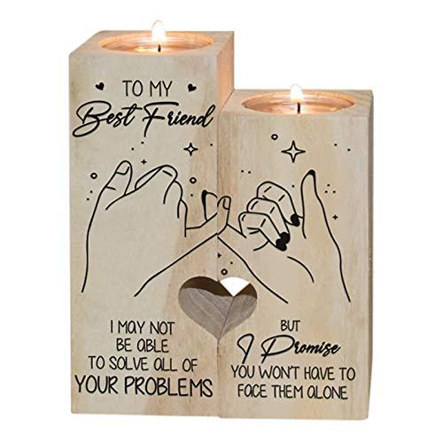 Delisouls Świeczniki w kształcie serca, To My Best Friend świecznik rzemieślniczy, nadruk świecznik na świeczki świecznik dekoracja biurka, znaczący prezent na urodziny przyjaciół