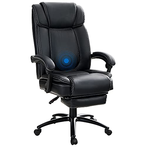 MAISON ARTS Big and Tall Bonded Leather Reclining Office Chair Task Chair, 400lb High Back Executive Massage Computer Desk Chair with Retractable Footrest and Metal Base for Home Office