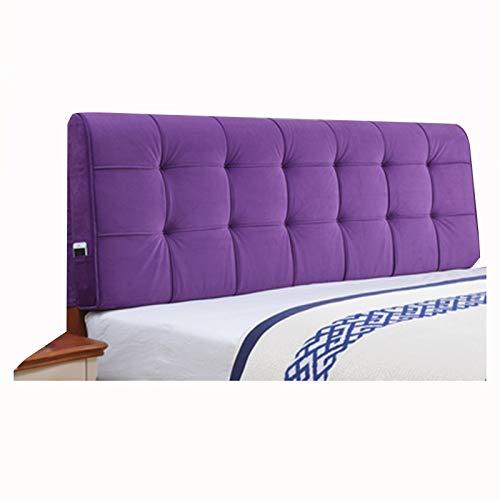 Respaldo Cojín ZEMIN Cabecero Cojines Respaldo Grande, Almohada de Apoyo Lumbar, Funda de Respaldo ExtraíBle con Puntera Suave, 7 Colores, 8 TamañOs (Color : Purple, Size : 120cmX58cmX10cm)