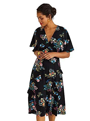 YUMI vrouwen Lente Tijd Bloemen Print Kimono Jurk Casual